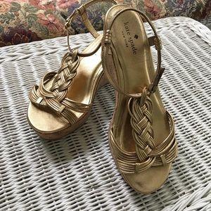 Kate Spade Becca Gold Metallic Wedge Sandals 8